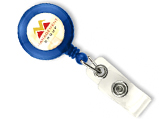 Blue badge reel with button strap attachment