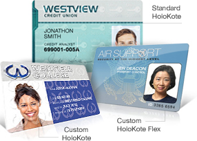 Three ID badges showing difference between Standard Holokote, Custom Holokote, and Custom Holokote Flex