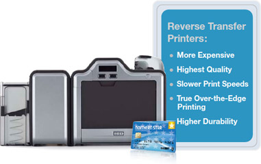 Bullet points of attributes of reverse transfer printers with image of printer and ID card