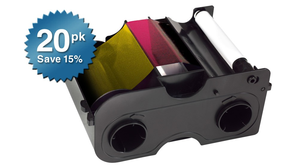 Fargo Ribbon Cartridge YMCKO DTC400 - 250 Prints - Quantity of 20