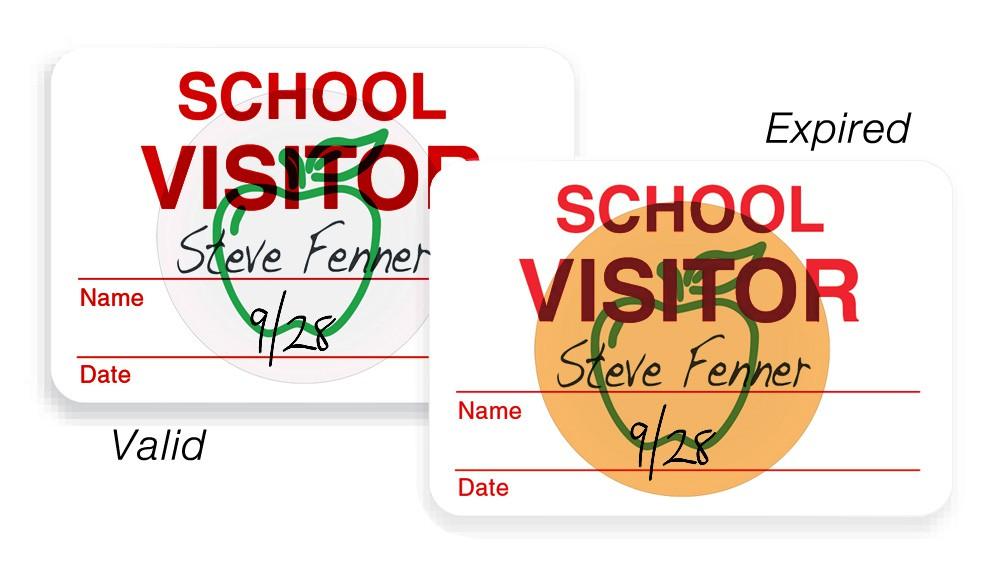 1000 Pack Adhesive Handwritten School Badges with expiring Apple Sticker