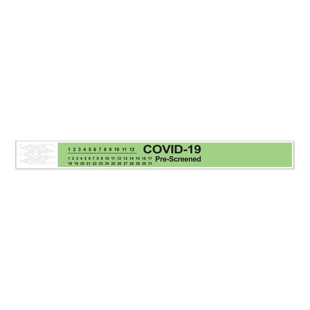 Short Stay Tyvek COVID-19 Pre-Screened Wristband
