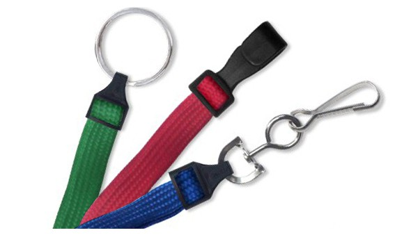 """Flat Braided Polyester 3/8"""" Lanyards – Pack of 100"""