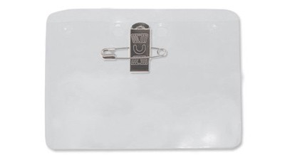 Horizontal Clear Vinyl Badge Holder with Pin-Clip Combo - 100