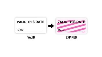 "TIMEBadge ONEstep TIMEtoken One Day Expiring ID Badge Sticker  - 1x2"""