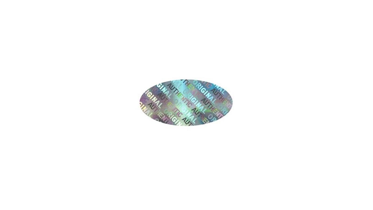 "Oval Hologram Sticker .75"" x .375"" - Roll of 1000"