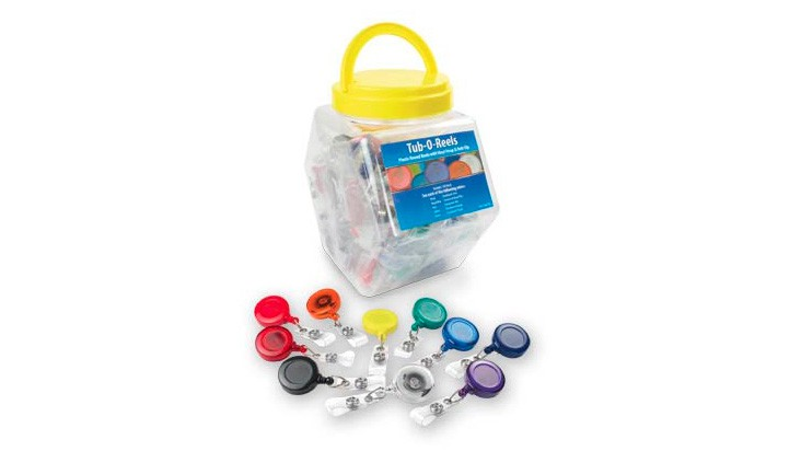 Tub-O-Reels - 100 Badge Reels in Assorted Colors