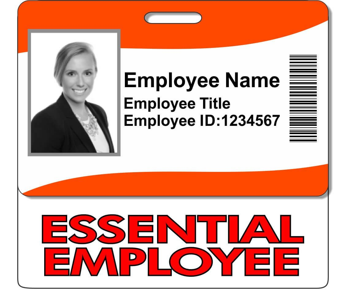 Horizontal Essential Employee ID Badge Backer