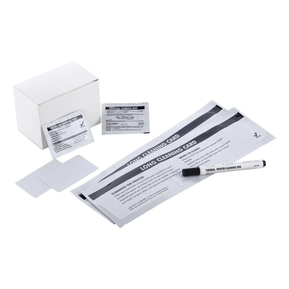 DuraClean™ ACL002 Cleaning Kit for Evolis Printers - T Cards, Adhesive Cards, Cleaning Pen, Wipes