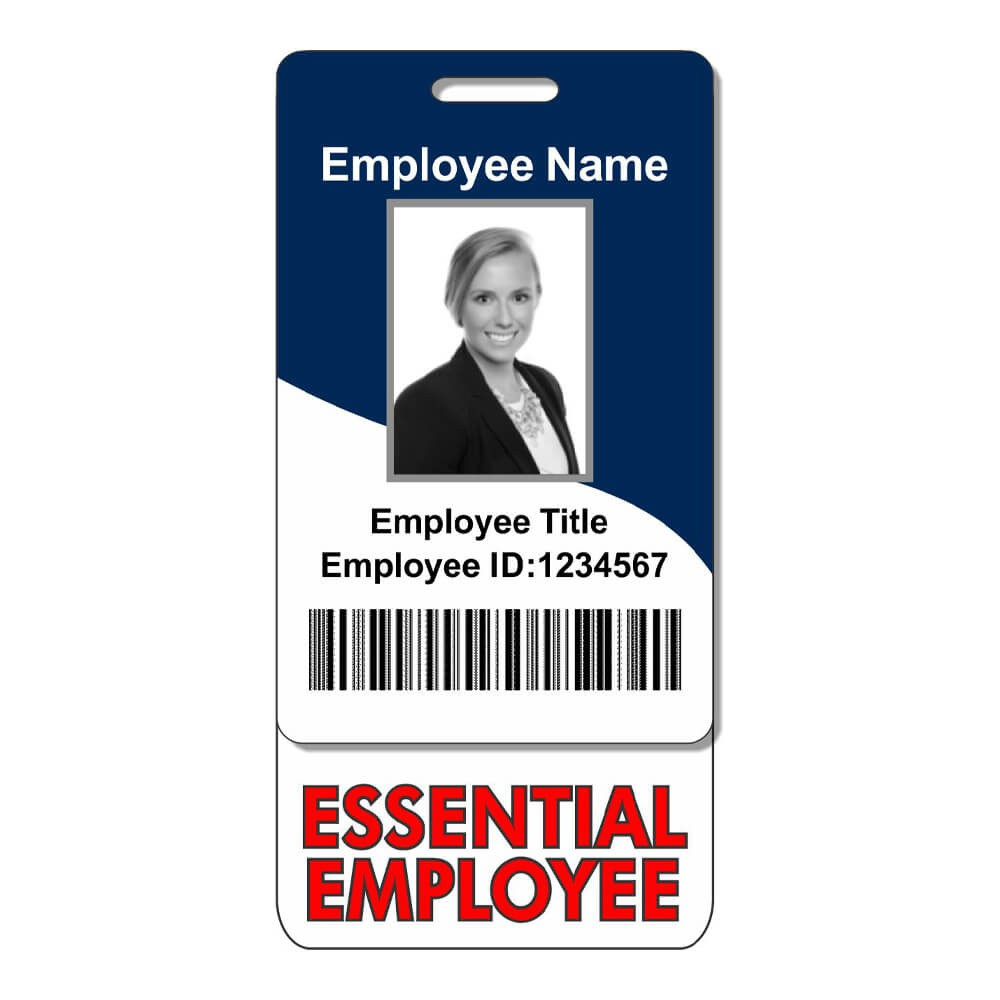 Vertical Essential Employee ID Badge Backer Front