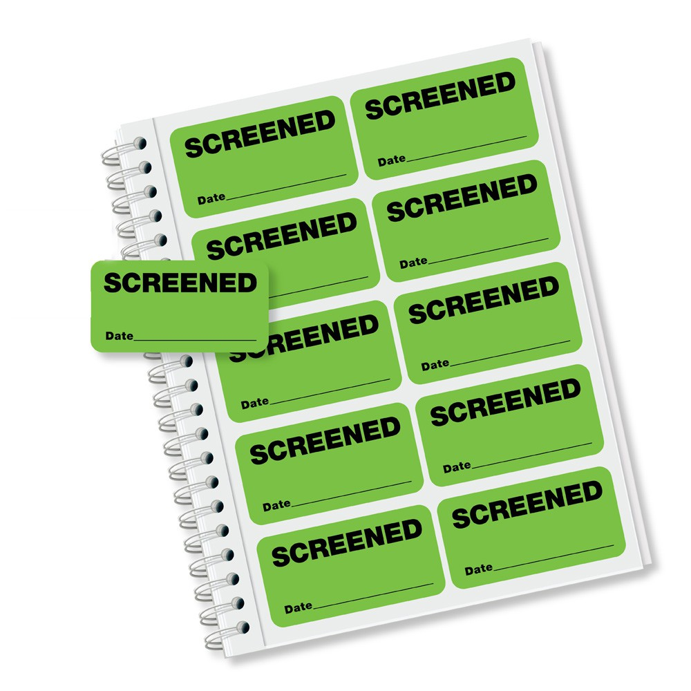 """Small Green """"Screened"""" Stickers"""