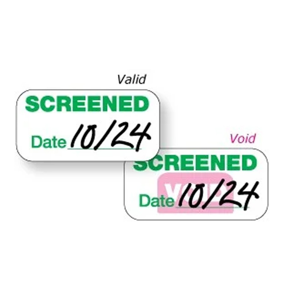 "Expiring ""Screened"" Sticker"