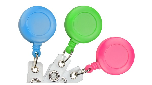 Neon Badge Reel with Slide-Type Belt Clip and Clear Vinyl Strap - 25 per pack