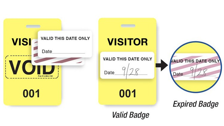 "Reusable VOIDbadge - Yellow w/ ""VISITOR"" /T3000"