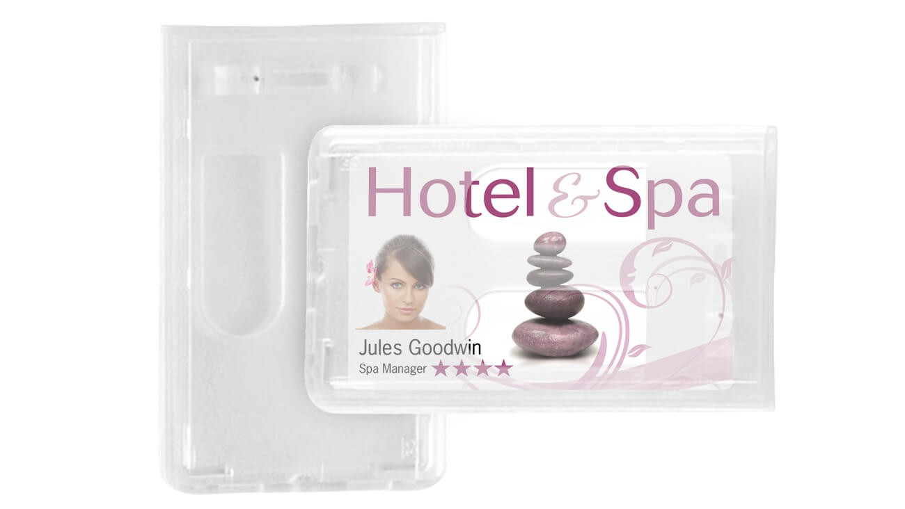 Premium Two Card Badge Dispensers – Pack of 50