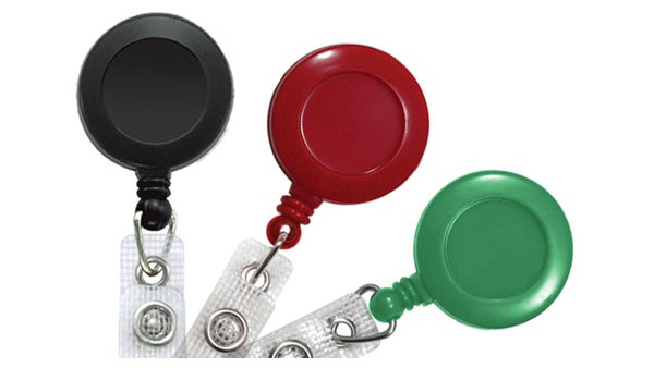 Round Badge Reels with Reinforced Strap - Pack of 25