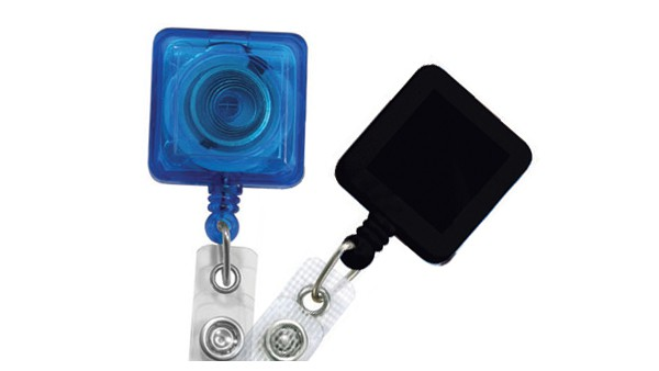 Square Badge Reels with Reinforced Strap - Pack of 25