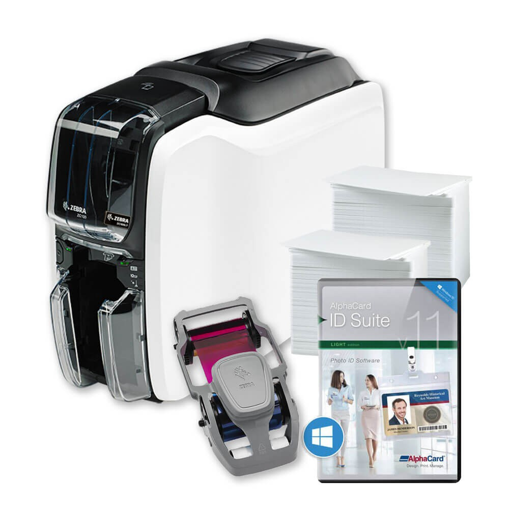 Zebra ZC100 LT ID Card Printer Bundle