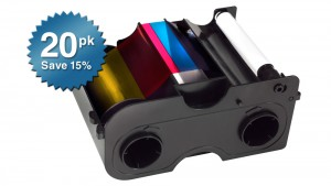 Fargo Ribbon Cartridge YMCKO - 250 Prints - Quantity of 20