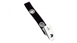 Black 2-Hole Badge Clip - Vinyl Strap - 100