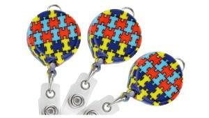 Puzzle Autism Awareness Round Badge Reel with Lanyard Loop - Pack of 25