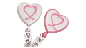 Pink Ribbon Heart Badge Reels  Pack of 25