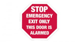 Aluminum Sign - Stop Emergency Exit Only This Door is Alarmed