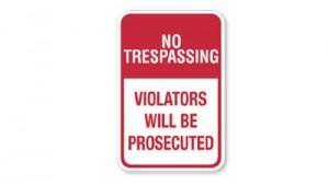 Aluminum Sign - No Trespassing Violators Will Be Prosecuted