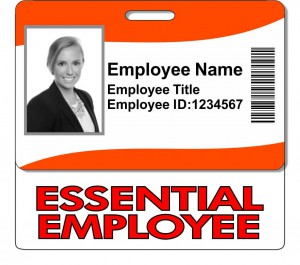 Horizontal Essential Employee ID Badge Backer