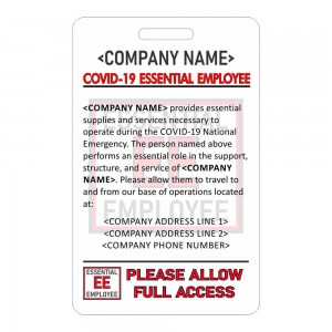 CR80 Essential Employee Card Vertical
