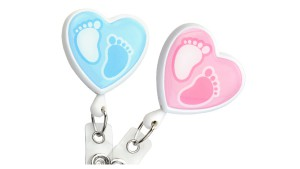 Baby Footprint Heart Badge Reels Pack of 25