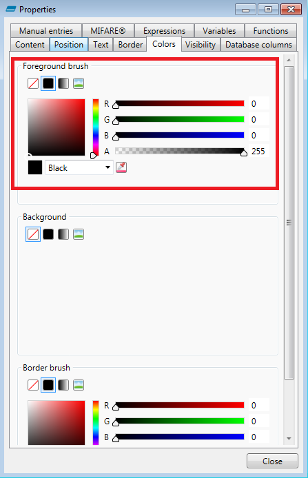 Text Color Tab