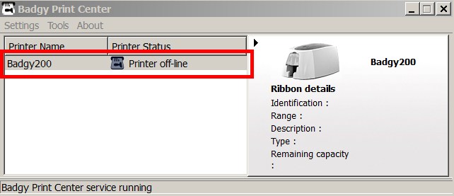 How to calibrate the ribbon sensors on an Evolis Badgy200 printer